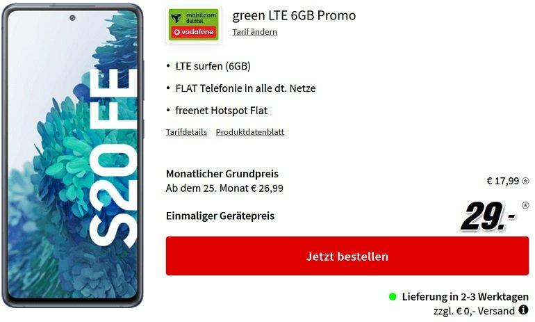 Samsung Galaxy S20 FE 128GB Vodafone Allnet-Flat mit 6GB LTE