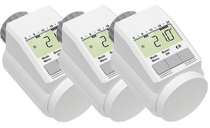 3er-Set Eqiva Model L Elektronik-Heizkörper-Thermostate mit Boost-Funktion 35€