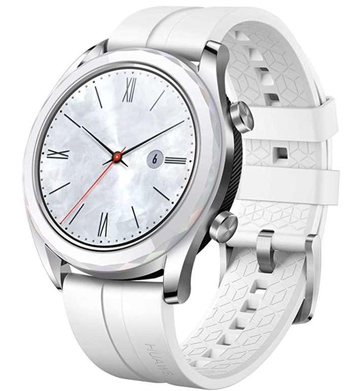Huawei Watch GT Elegant Smartwatch (42 mm, Amoled Touchscreen, GPS, 5 ATM wasserdicht) für 111,57€ (statt 151€)