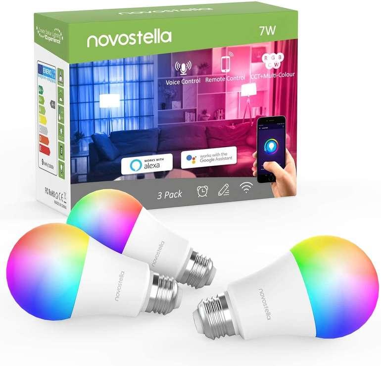 Novostella 1er oder 3er Pack smarte LED RGB Glühbirnen (Alexa kompatibel, dimmbar, E27) ab 12,79€ (Prime)