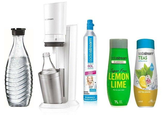 SodaStream Crystal + 2 Karaffen + 2 Sirup & 60 Liter Gas Zylinder für 99,90€