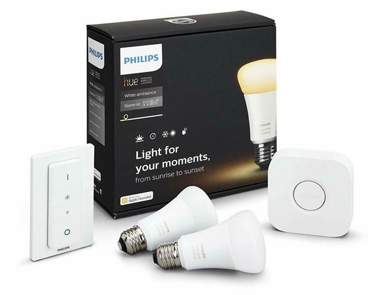 Philips Hue White Ambiance mit 2x E27 Lampen, Bridge & Dimmschalter für 65,71€