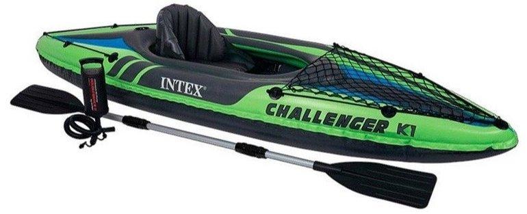 Intex 68305 Kajak Challenger K1 Set Schlauchboot + Alu-Paddel + Pumpe für 64,50€