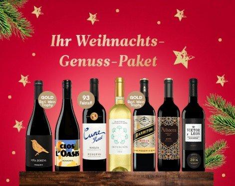 vinos.de - 7 Flaschen Wein im Weihnachts-Genuss-Paket für 49,90€ (statt 65€)