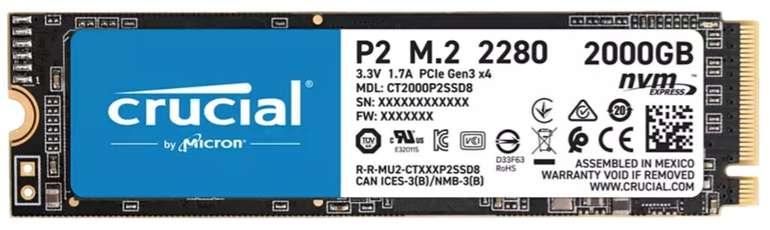 Crucial P2 2TB M.2 NVMe PCIe SSD (bis R2400/W1900, DRAMless, 600TBW) für 169,99€ (statt 211€) - Newsletter!