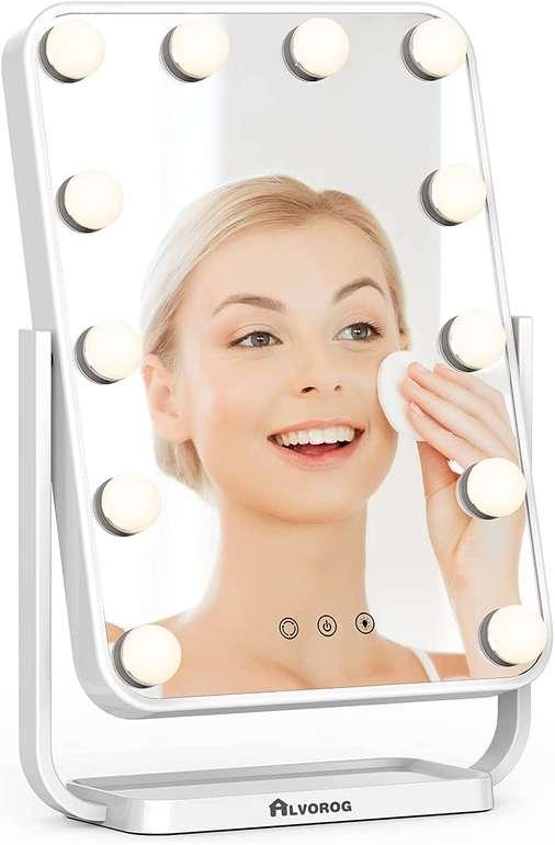 Alvorog Kosmetikspiegel mit Beleuchtung (dimmbar, 360° drehbar) für 29,49€ inkl. Versand (statt 56€)