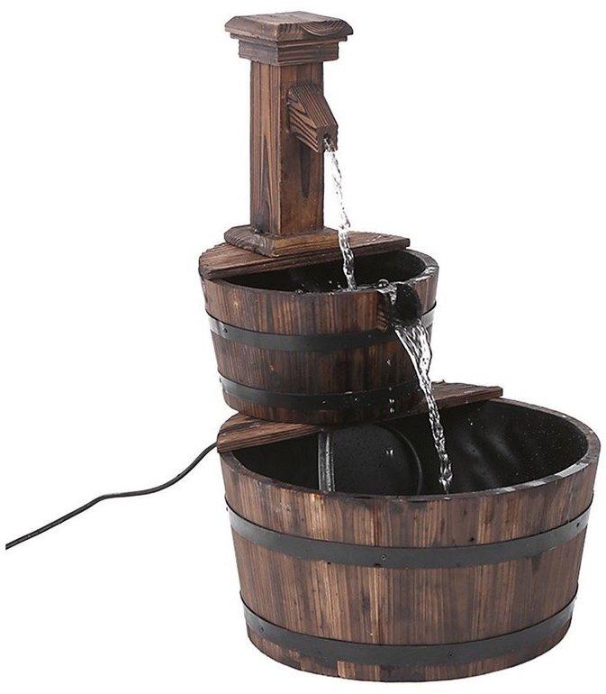 iKayaa Dekobrunnen aus Tannenholz mit Wasserpumpe für ~30€ inkl. Versand