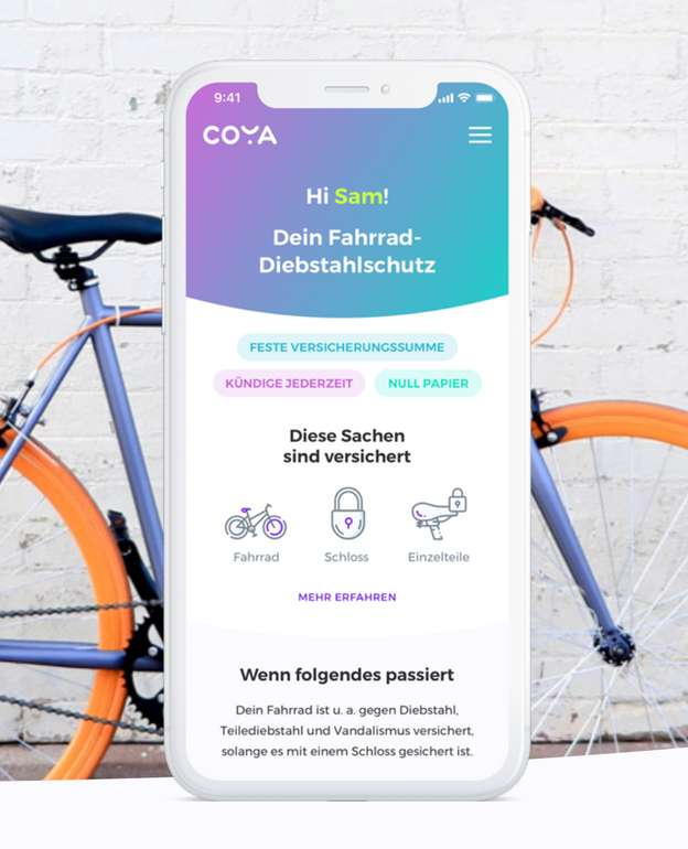 Fahrrad/- und E-Bike Diebstahl  Versicherung von Coya (15€ Startguthaben)