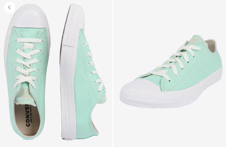 Converse Sneaker 'CTAS OX' in Lila und Mint für 26,82€ inkl.…
