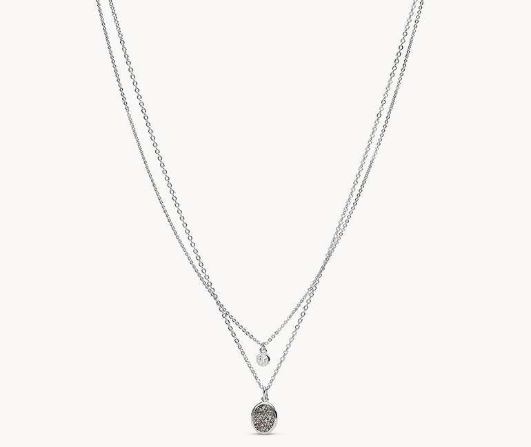 Fossil Silver-Tone Brass Multi-Strand Halskette (JOA00602040) für 26,60€ inkl. Versand (statt 47€)