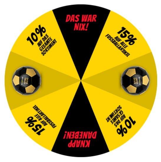SportSpar.de Glücksrad: 10% Rabatt auf Alles, 15% Rabatt auf Fußballartikel oder gratis Fußball
