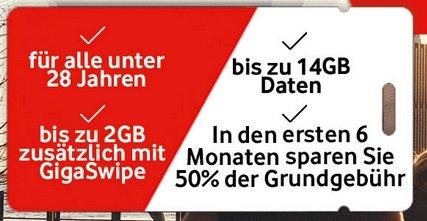 Vodafone Young Tarife mit bis zu 14GB LTE + Smartphone + Deezer ab 32,99€ mtl.