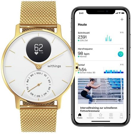 Nokia Steel HR Fitnessuhr (Herzfrequenz-/Aktivität) für 160€ (statt 230€)