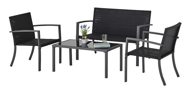 4-teiliges Balkonset Badalona (2 Sessel, 1 Sofa 2-sitzig, 1 Tisch) für 77,10€