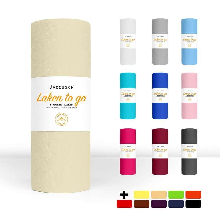 """Jacobsen """"Laken to Go"""" Spannbettlaken in verschiedenen Größen z.B. 140x200cm für 7,99€ inkl. Versand (statt 15€)"""