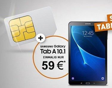 o2 Smart Surf (1GB LTE / 50 FreiSMS/-Min) + Samsung Galaxy Tab A für 3,99€ mtl.