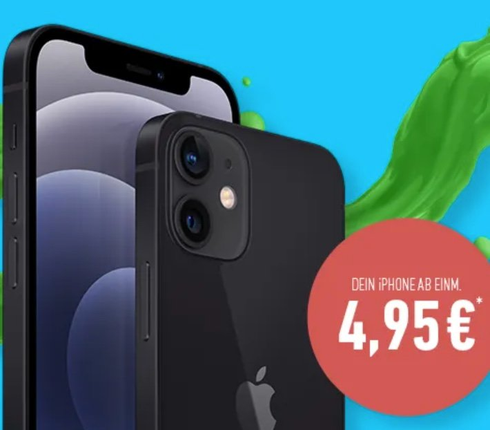 DeinHandy iPhone 12 Deals - z.B. Apple iPhone 12 Mini (4,95€) + Vodafone Flat mit 30GB LTE für 44,99€ mtl.