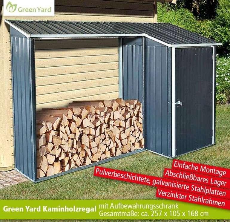Green Yard Holzunterstand mit abschließbarem Aufbewahrungsschrank für 94,50€