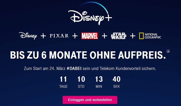Telekom 6 Monate Disney+ gratis für alle Magenta Kunden