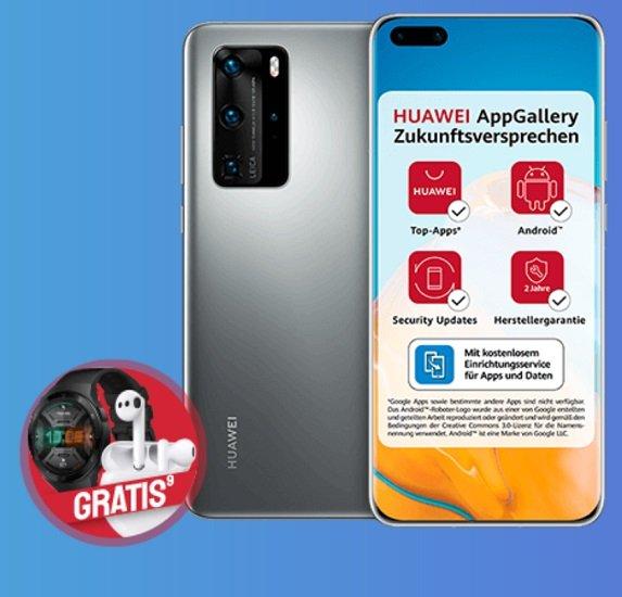Huawei P40 Pro + Watch GT2e & FreeBuds3 (+ 49€) inkl. o2 Free L Allnet-Flat mit 60GB LTE für 39,99€ mtl.
