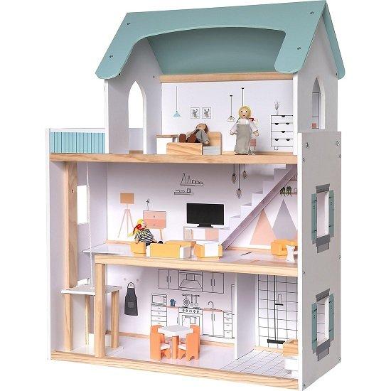 myToys Puppenhaus mit Möbel + 3 Biegepuppen für 44,44€ (statt 51€)