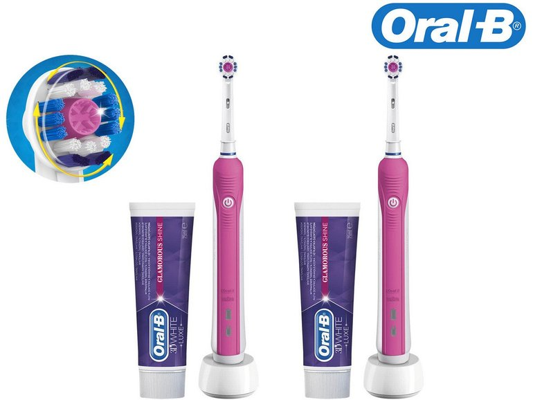 Doppelpack Braun Oral-B Pro 750 elektrische Zahnbürste + Zahnpasta für 45,90€