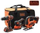 Black & Decker Powertools (Bohrmaschine, Schleifer, Säge, Akku, Tasche) 138,90€