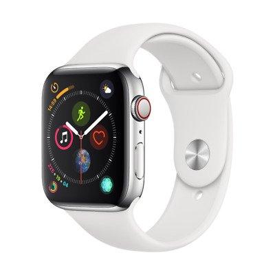 Apple Watch Series 4 - GPS + LTE 44 mm Edelstahlgehäuse + Sportarmband weiß für 379,90€