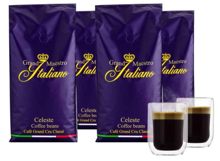 4kg Grand Maestro Italiano Celeste Kaffeebohnen + 2 Doppelwand Gläser für 29,99€