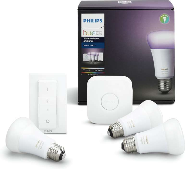 Philips Hue White and Color Ambiance Starter Kit (Bridge + 3x E27 Bunt + Dimmschalter) für 103,05€