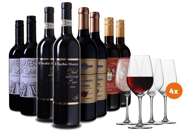 Wein Probierpaket italien (4 Weine mit je 2 Flaschen) + 4 Schott Zwiesel Gläser für 69,99€ inkl. Versand