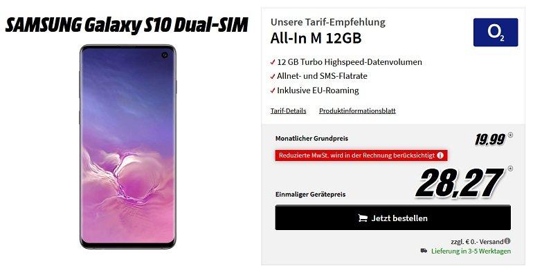 Samsung Galaxy S10 128GB o2 All-In M Allnet-Flat 12GB LTE