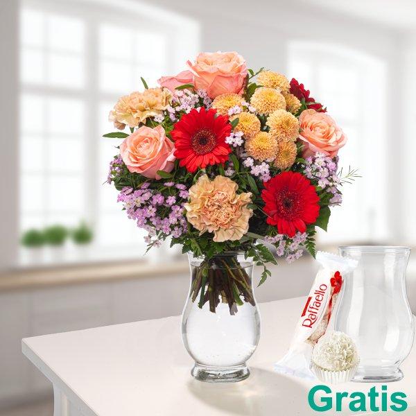 """Blumenstrauß """"Farbenfroh"""" mit Vase & Ferrero Raffaello für 26,89€ inkl. Versand"""