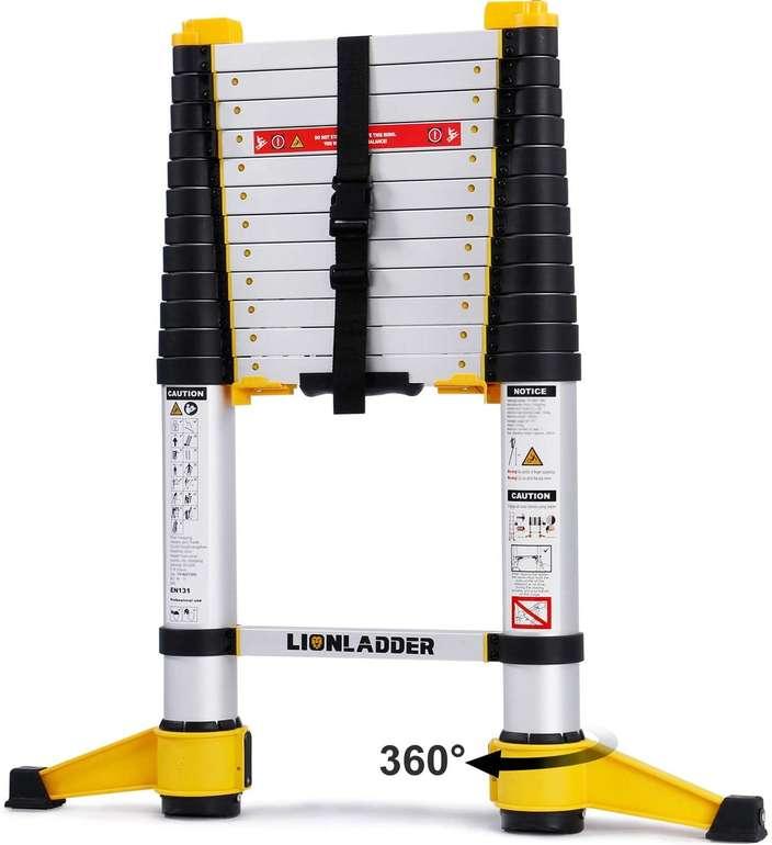 Lionladder 3,8m Aluminium Teleskopleiter (bis 150 kg belastbar) für 84,49€ inkl. Versand (statt 130€)