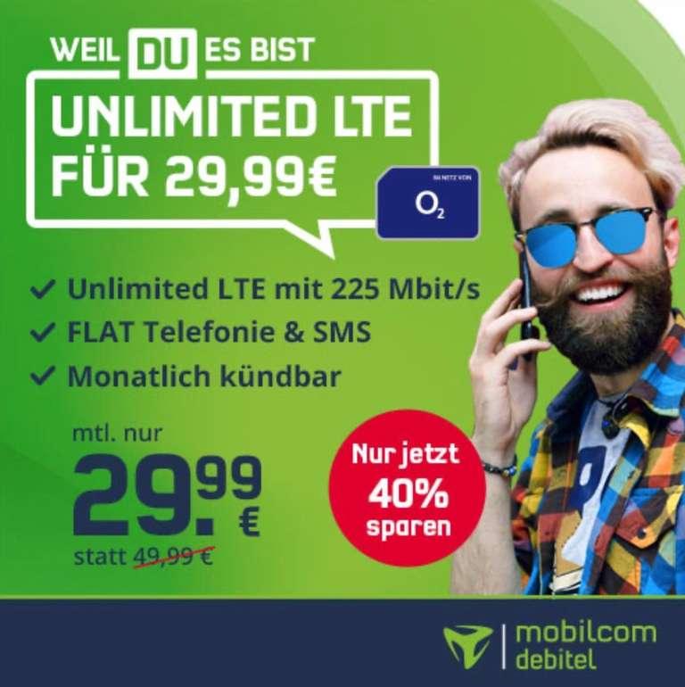 o2 Free Unlimited Max Allnet-Flat mit 225 Mbit/s für 29,99€ mtl. (monatlich kündbar!)