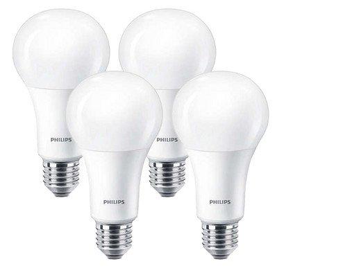 4er Pack Philips LED Leuchtmittel (E27, dimmbar, 13,5 W, warmweiß) für 15,90€ inkl. Versand
