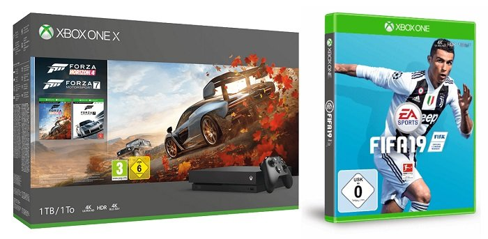 Xbox One X 1TB + Forza Horizon 4 + Forza Motorsport 7 + FIFA 19 für 435,94€