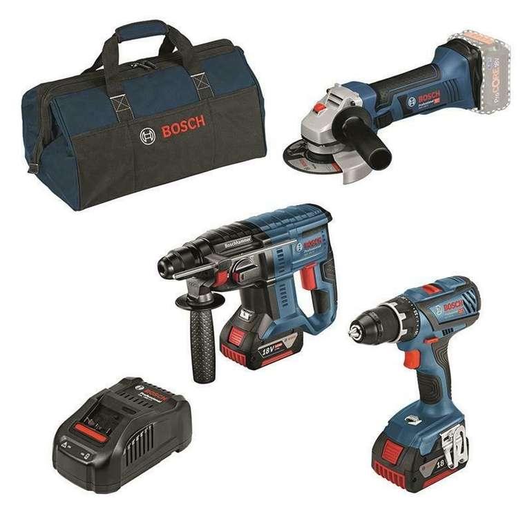 Bosch 18 Volt Akku-Profi-Set (Schrauber, Bohrhammer, Winkelschleifer) für 419€ (statt 514€)