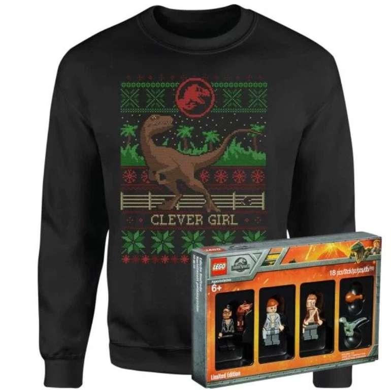 Jurassic Park Pullover (Damen / Herren / Kinder) + Limitierte Edition Lego Minifiguren für 20,69€