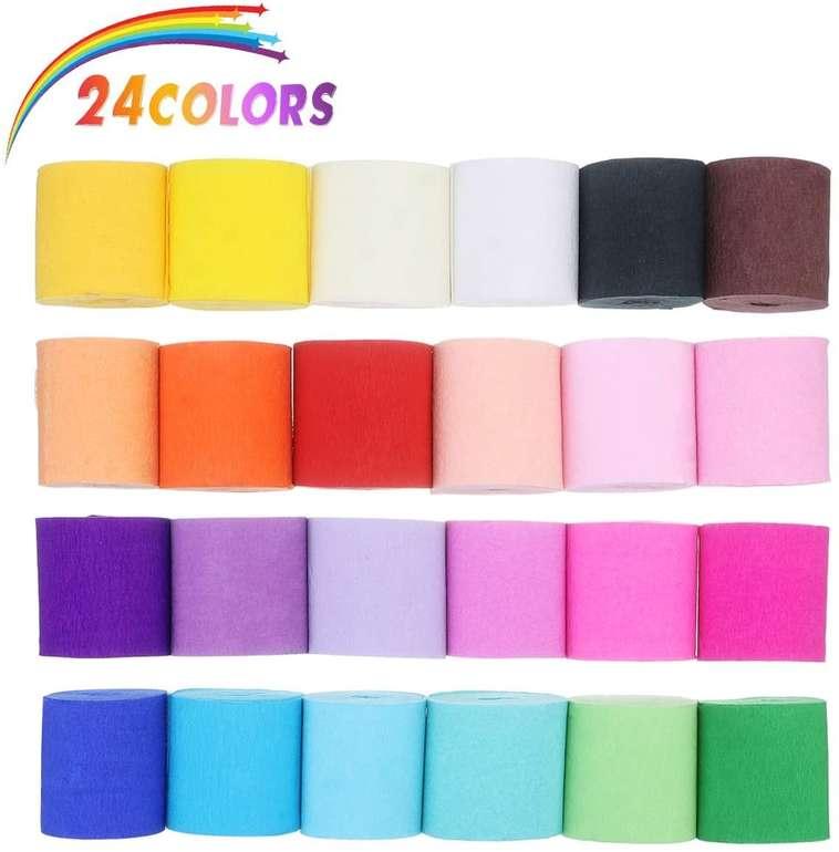 Caveen Kreppapier in verschiedenen Farben (24 Stück, 10m x 5cm) für 7,14€ inkl. Versand (statt 11€)
