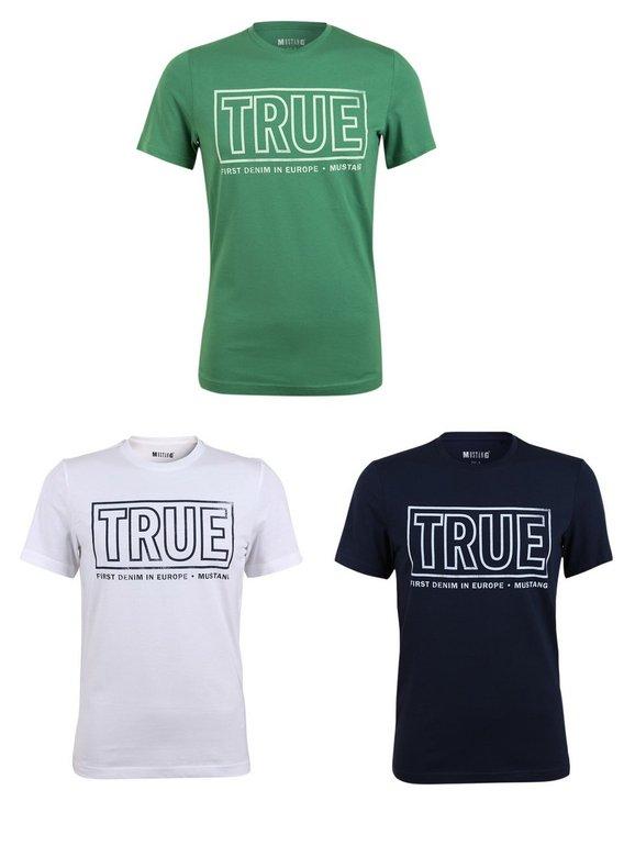 """3er Pack Mustang Herren T-Shirt """"TRUE"""" Logo Special Tee - Farbmix für 19,95€ (statt 35€)"""