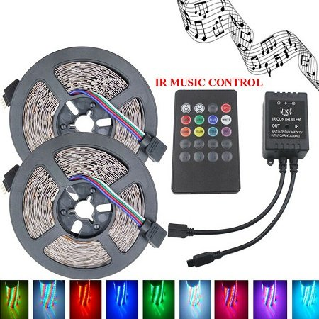 2 x 5 Meter 3528 RGB LED Flexible Light Strip mit SMD 300 LEDs für 7,77€