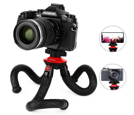Fotopro Kamerastativ mit 3 flexiblen Armen für DSLR, Handys & mehr für 10,19€