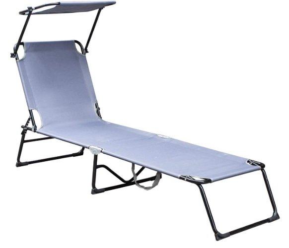 Hengda Sonnenliege mit Sonnendach und Rückenlehne für 37,79€ inkl. Prime-Versand (statt 54€)