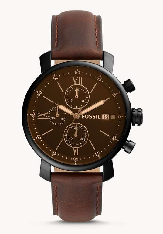 Fossil Herrenuhr Rhett Chronograph Leder in Braun für 63,60€ inkl. Versand (statt 100€)