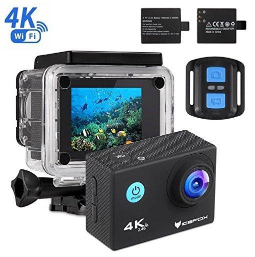 Icefox 4K Action Cam mit Unterwasser-Kit, 2 Akkus, WLAN & mehr für 35,99€