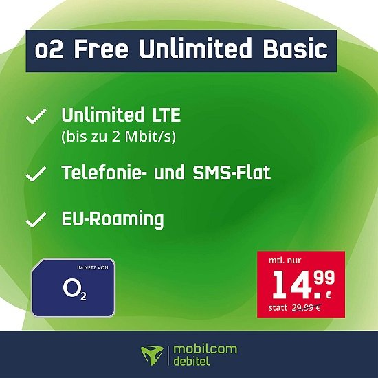 mobilcom-debitel o2 Unlimited Tarif mit Allnet-Flat