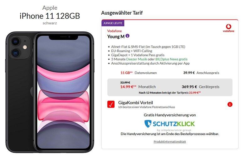 Apple iPhone 11 64GB Vodafone Allnet-Flat 11GB LTE