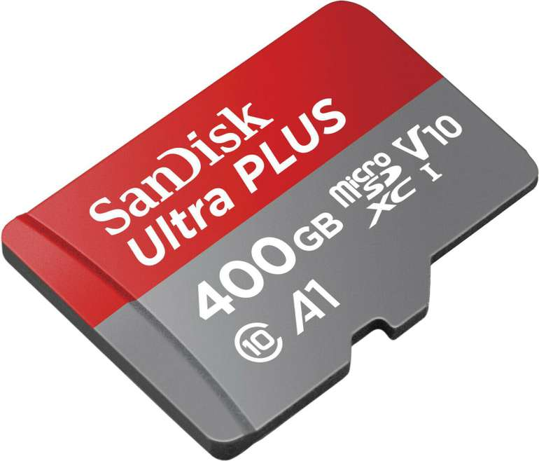 Sandisk Ultra Plus 400 GB (130 MB/s Lesegeschwindigkeit, V10) für 41,99€ inkl. Versand (statt 48€)