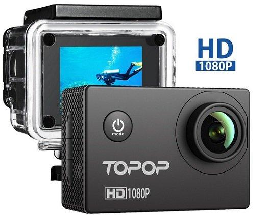 TOPOP - Action Kamera mit Display & Full HD 1080p Aufnahmen für 34,99€ inkl. VSK